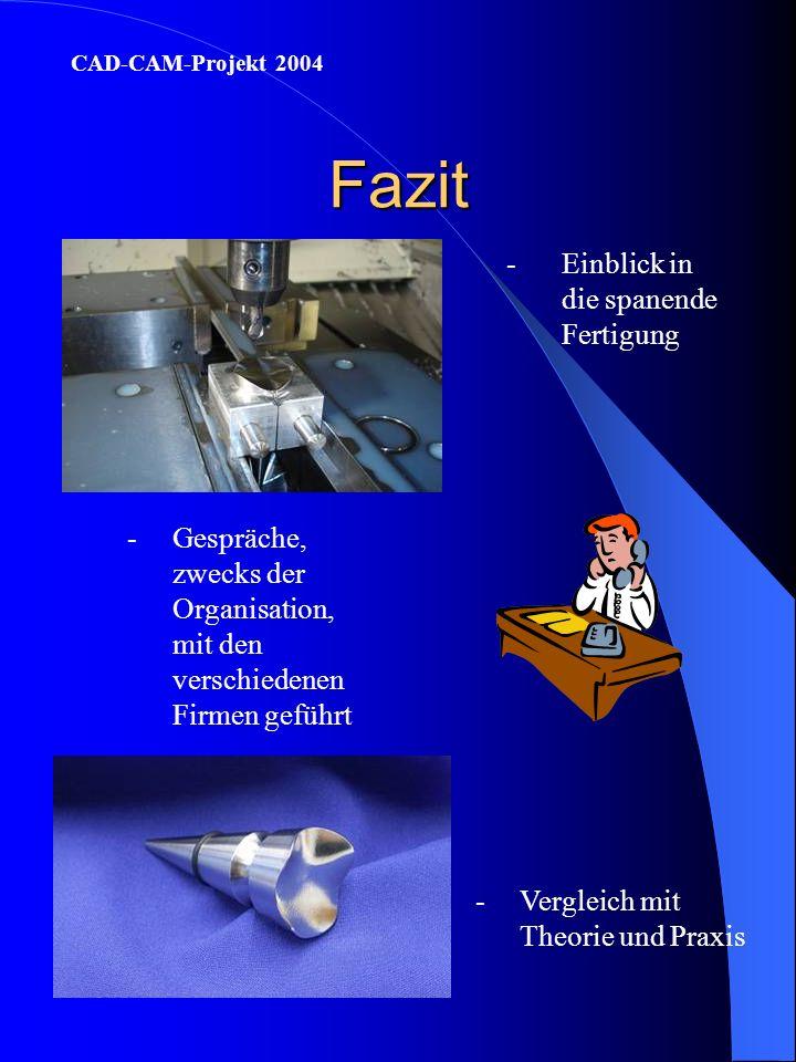 Fazit -Einblick in die spanende Fertigung CAD-CAM-Projekt 2004 -Gespräche, zwecks der Organisation, mit den verschiedenen Firmen geführt -Vergleich mit Theorie und Praxis