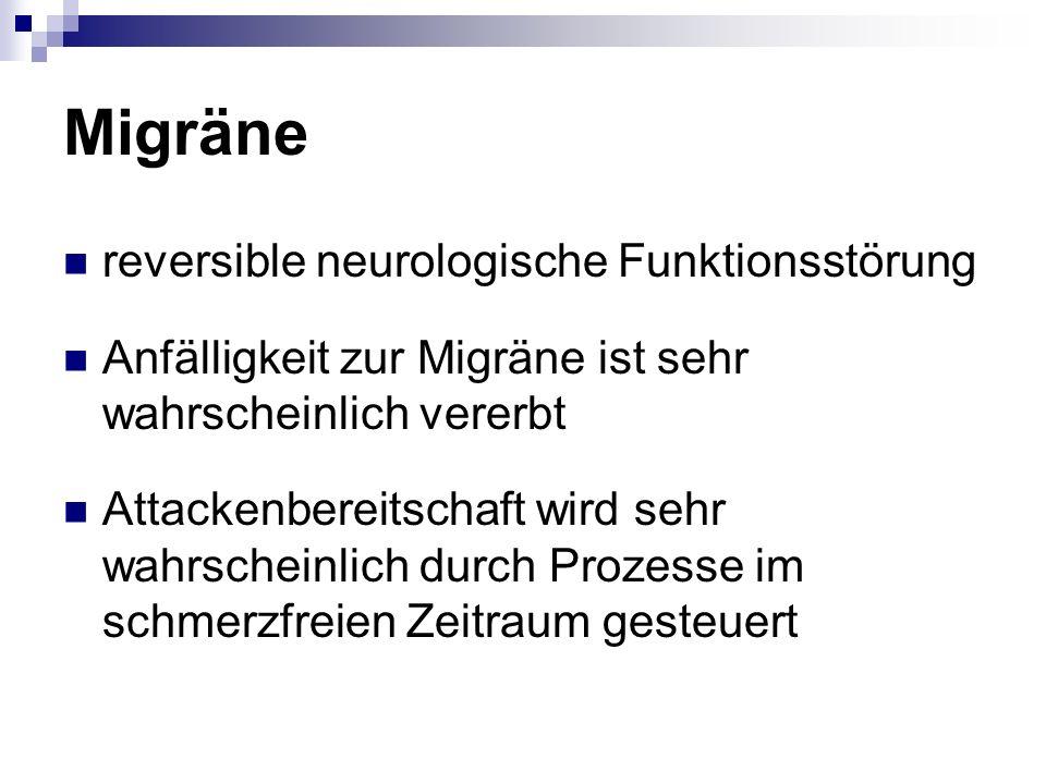 Migräne reversible neurologische Funktionsstörung Anfälligkeit zur Migräne ist sehr wahrscheinlich vererbt Attackenbereitschaft wird sehr wahrscheinli