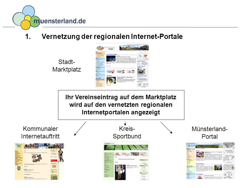 Ihr Verein – im Vereinsregister der kommunalen Internetseite, des regionalen Marktplatzes, Münsterlandportals und Kreis- Sportbundes