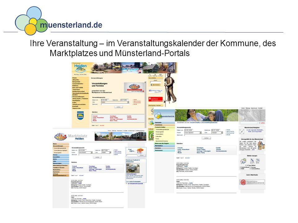 Ihre Veranstaltung – im Veranstaltungskalender der Kommune, des Marktplatzes und Münsterland-Portals