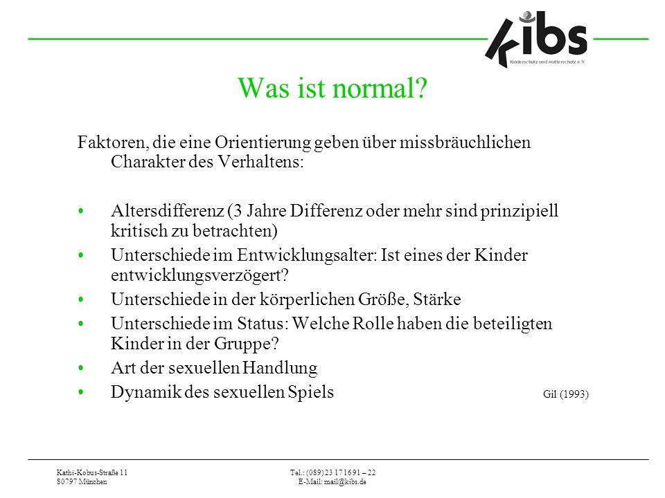 Kathi-Kobus-Straße 11 80797 München Tel.: (089) 23 17 16 91 – 22 E-Mail: mail@kibs.de Was ist normal? Faktoren, die eine Orientierung geben über missb