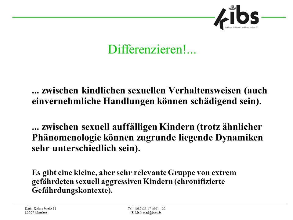 Kathi-Kobus-Straße 11 80797 München Tel.: (089) 23 17 16 91 – 22 E-Mail: mail@kibs.de Differenzieren!...... zwischen kindlichen sexuellen Verhaltenswe