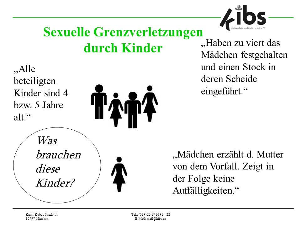 Kathi-Kobus-Straße 11 80797 München Tel.: (089) 23 17 16 91 – 22 E-Mail: mail@kibs.de Sexuelle Grenzverletzungen durch Kinder Haben zu viert das Mädchen festgehalten und einen Stock in deren Scheide eingeführt.