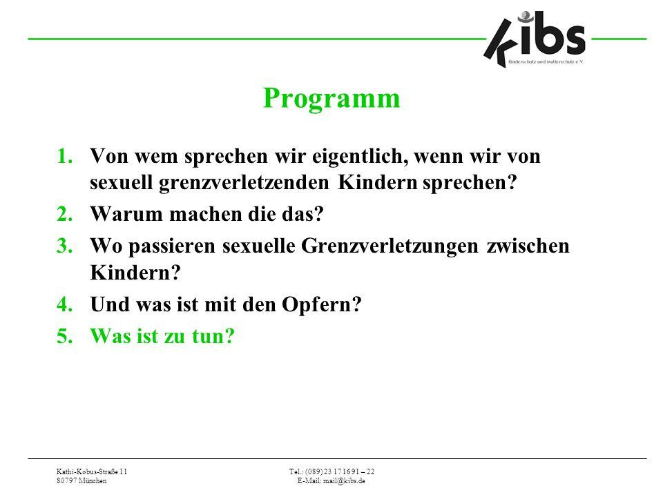 Kathi-Kobus-Straße 11 80797 München Tel.: (089) 23 17 16 91 – 22 E-Mail: mail@kibs.de Programm 1.Von wem sprechen wir eigentlich, wenn wir von sexuell grenzverletzenden Kindern sprechen.