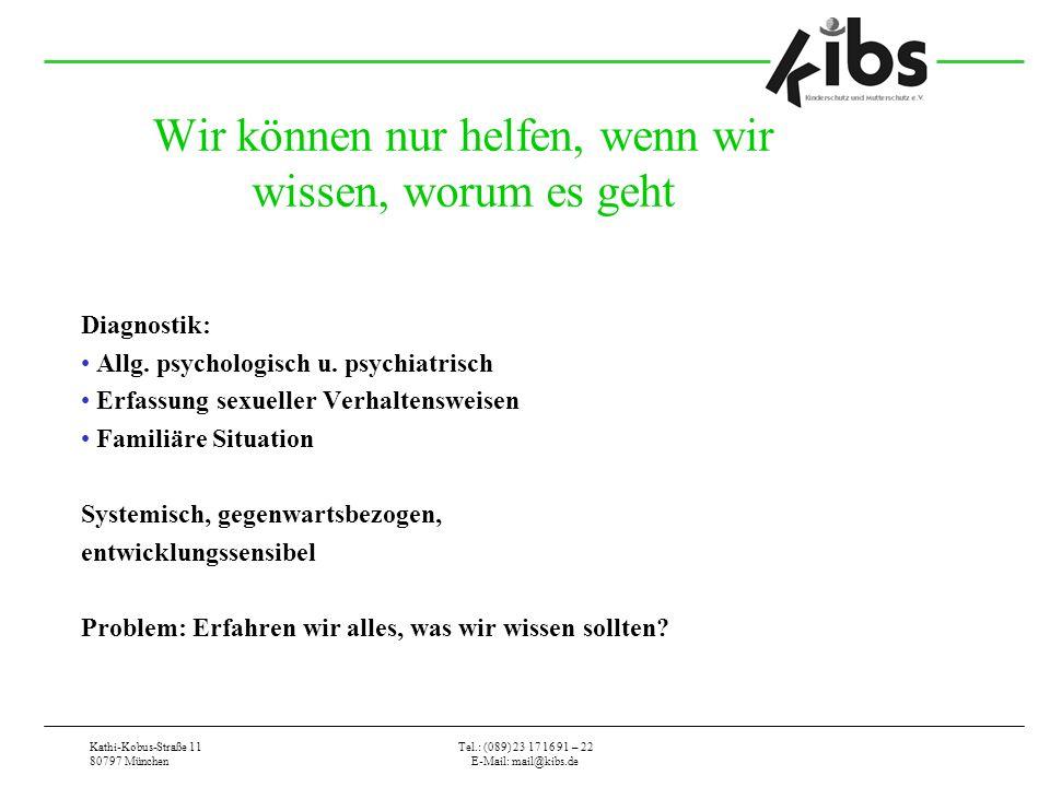 Kathi-Kobus-Straße 11 80797 München Tel.: (089) 23 17 16 91 – 22 E-Mail: mail@kibs.de Wir können nur helfen, wenn wir wissen, worum es geht Diagnostik: Allg.