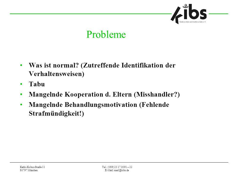 Kathi-Kobus-Straße 11 80797 München Tel.: (089) 23 17 16 91 – 22 E-Mail: mail@kibs.de Probleme Was ist normal? (Zutreffende Identifikation der Verhalt