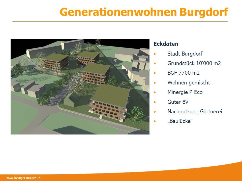 www.losinger-marazzi.ch Beteiligte Genossenschaft GEWO Architekten Stadt Burgdorf Projektentwicklerin Begleitung NaQu Ziel Mehrere Generationen Alterswohnen Gemeinschaftsräume Nachbarschaft schaffen.