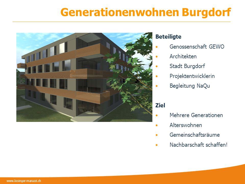 www.losinger-marazzi.ch Fazit Bestätigung der Bemühungen Kommunikation erleichtert Goodwill bei Gemeinde Benchmark setzen Erst durch die breite Anwendung gewinnt das Tool an Kraft.
