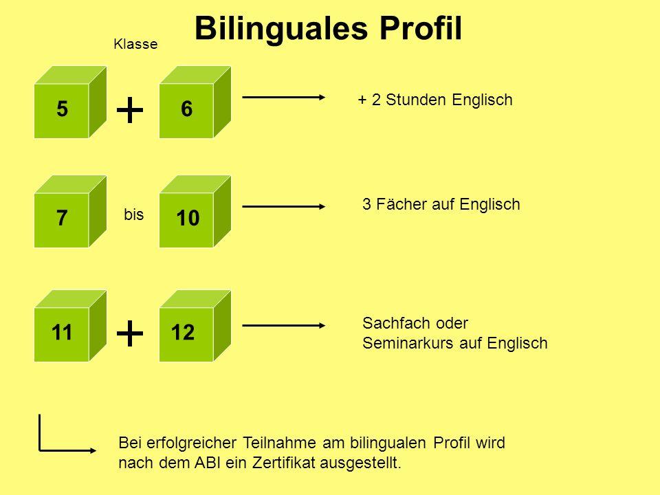 Klasse + 2 Stunden Englisch 7 10 56 bis 3 Fächer auf Englisch 1112 Sachfach oder Seminarkurs auf Englisch Bei erfolgreicher Teilnahme am bilingualen P