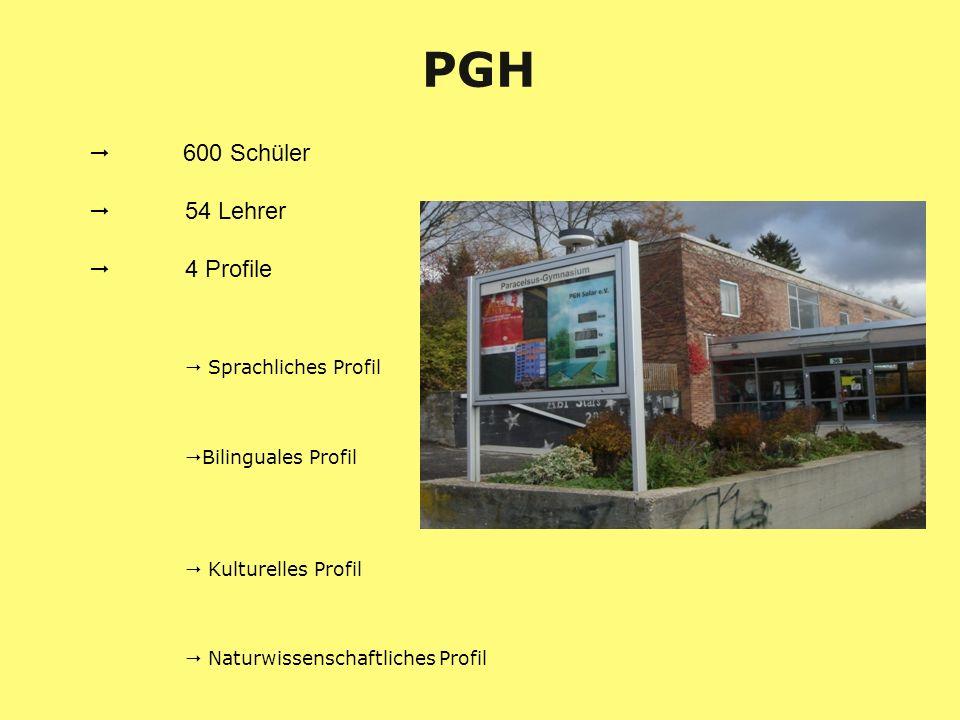 600 Schüler 54 Lehrer 4 Profile Sprachliches Profil Bilinguales Profil Kulturelles Profil Naturwissenschaftliches Profil PGH