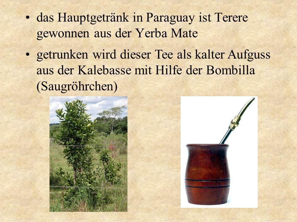 das Hauptgetränk in Paraguay ist Terere gewonnen aus der Yerba Mate getrunken wird dieser Tee als kalter Aufguss aus der Kalebasse mit Hilfe der Bombi