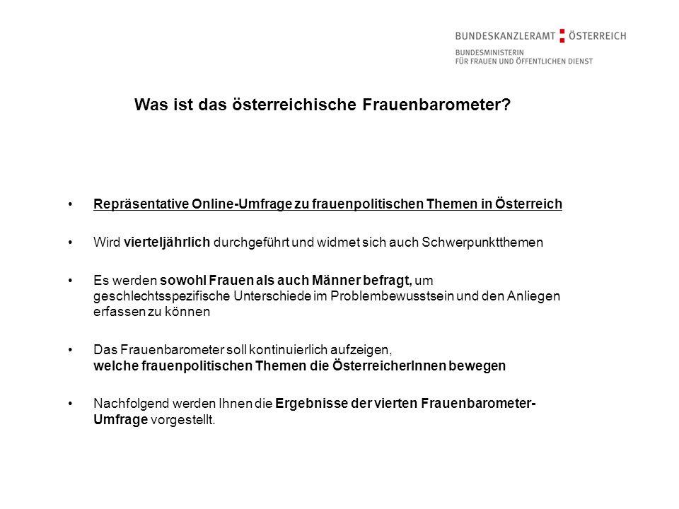 Repräsentative Online-Umfrage zu frauenpolitischen Themen in Österreich Wird vierteljährlich durchgeführt und widmet sich auch Schwerpunktthemen Es we