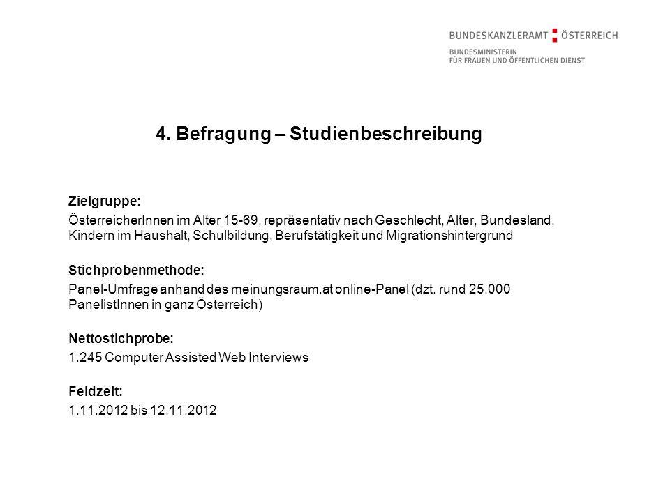 Zielgruppe: ÖsterreicherInnen im Alter 15-69, repräsentativ nach Geschlecht, Alter, Bundesland, Kindern im Haushalt, Schulbildung, Berufstätigkeit und