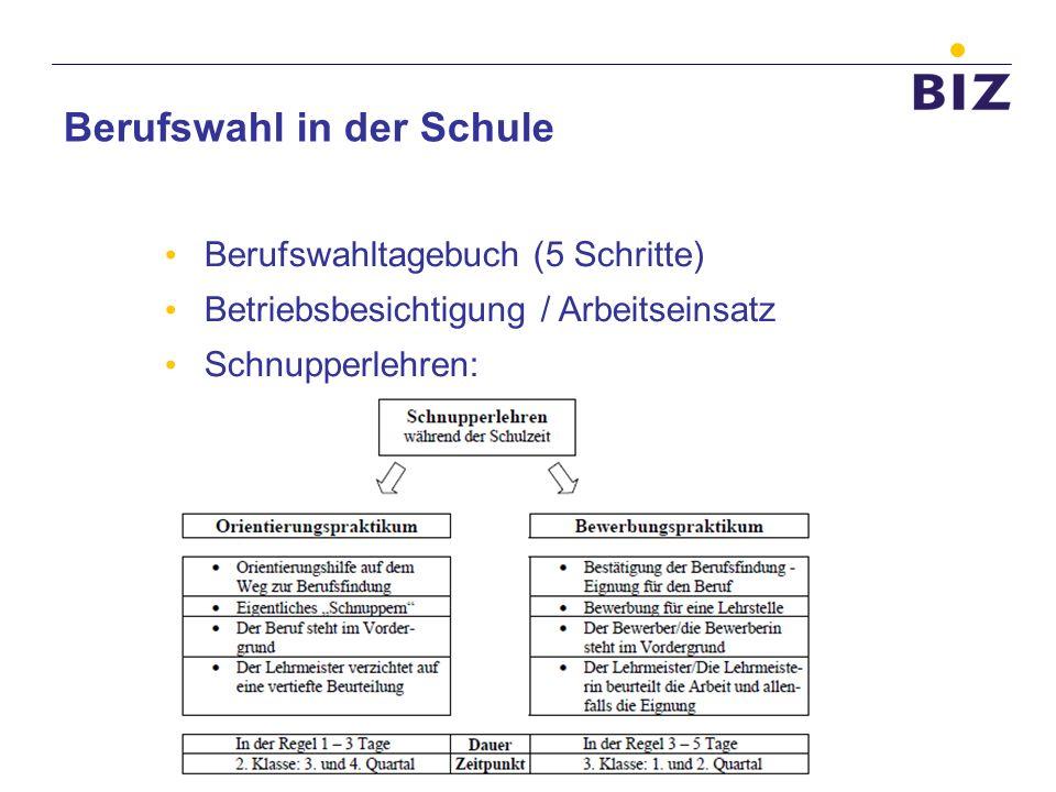 Berufswahl in der Schule Berufswahltagebuch (5 Schritte) Betriebsbesichtigung / Arbeitseinsatz Schnupperlehren: