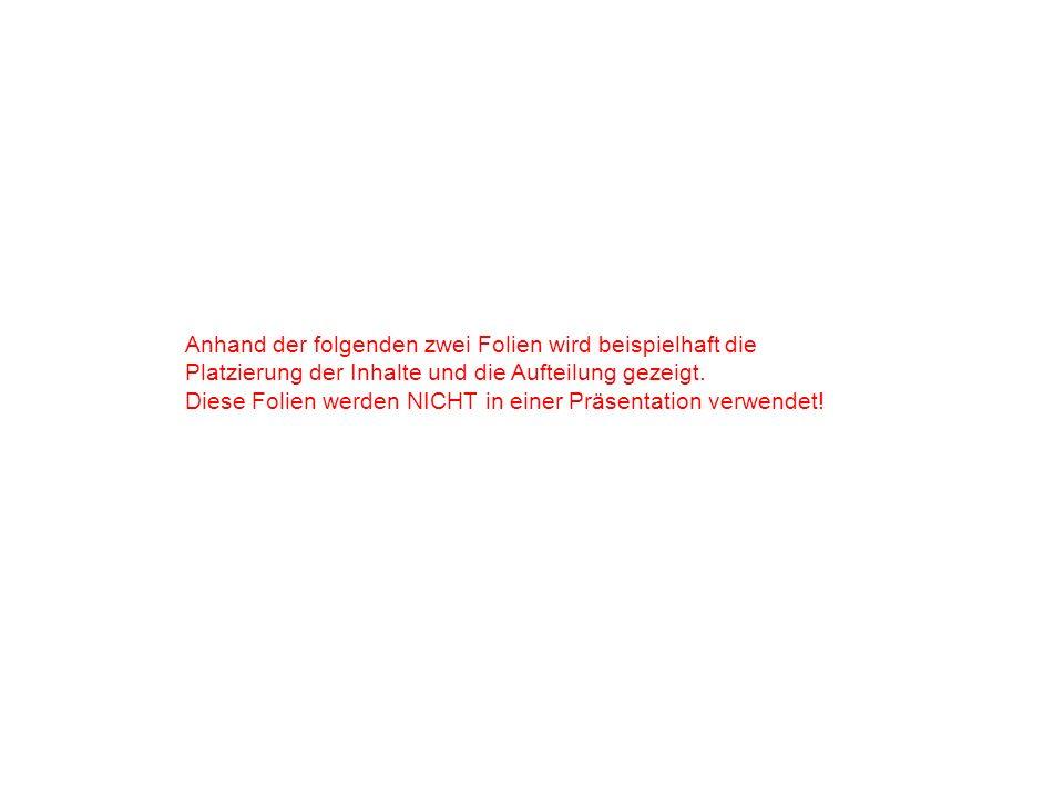 Anhand der folgenden zwei Folien wird beispielhaft die Platzierung der Inhalte und die Aufteilung gezeigt.