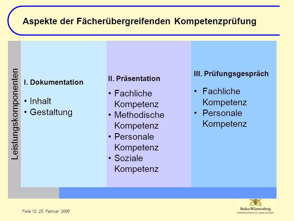 Folie 12, 23. Februar 2006 III. Prüfungsgespräch Fachliche Kompetenz Personale Kompetenz II.