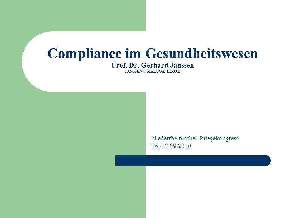 Implementierung einer Compliance-Organisation Compliance im Gesundheitssektor Analyse der unternehmensspezifischen Risiken und Gefahren Erstellung von Unternehmensrichtlinien und Dienstanweisungen zur Vermeidung der analysierten Risiken und Gefahren Training der Mitarbeiter Kontrolle/Aktualisierung des bestehenden Compliance- Programms Bestellung eines Compliance- Beauftragten