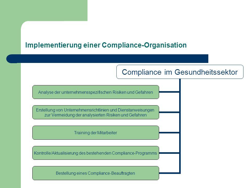 Implementierung einer Compliance-Organisation Compliance im Gesundheitssektor Analyse der unternehmensspezifischen Risiken und Gefahren Erstellung von