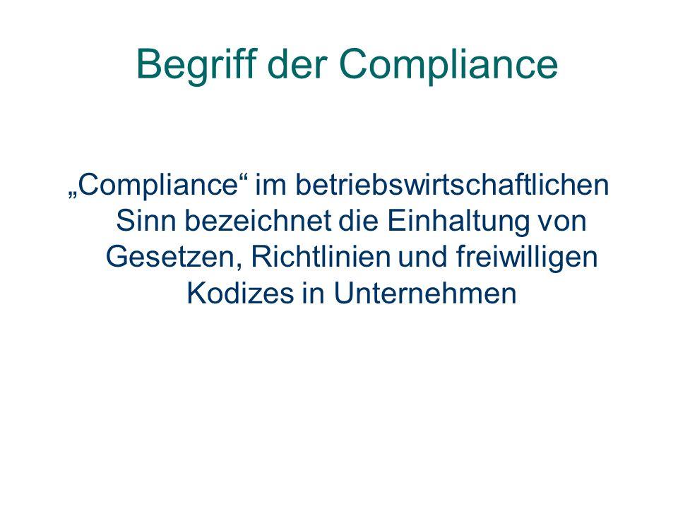 Begriff der Compliance Compliance im betriebswirtschaftlichen Sinn bezeichnet die Einhaltung von Gesetzen, Richtlinien und freiwilligen Kodizes in Unt