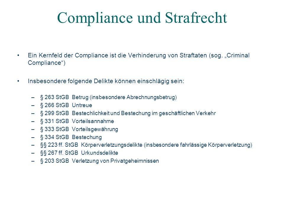 Compliance und Strafrecht Ein Kernfeld der Compliance ist die Verhinderung von Straftaten (sog. Criminal Compliance) Insbesondere folgende Delikte kön
