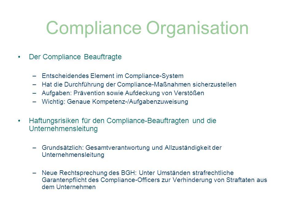 Compliance Organisation Der Compliance Beauftragte –Entscheidendes Element im Compliance-System –Hat die Durchführung der Compliance-Maßnahmen sicherz