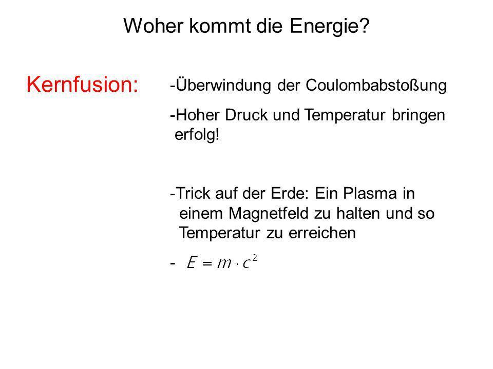 -Überwindung der Coulombabstoßung -Hoher Druck und Temperatur bringen erfolg! -Trick auf der Erde: Ein Plasma in einem Magnetfeld zu halten und so Tem