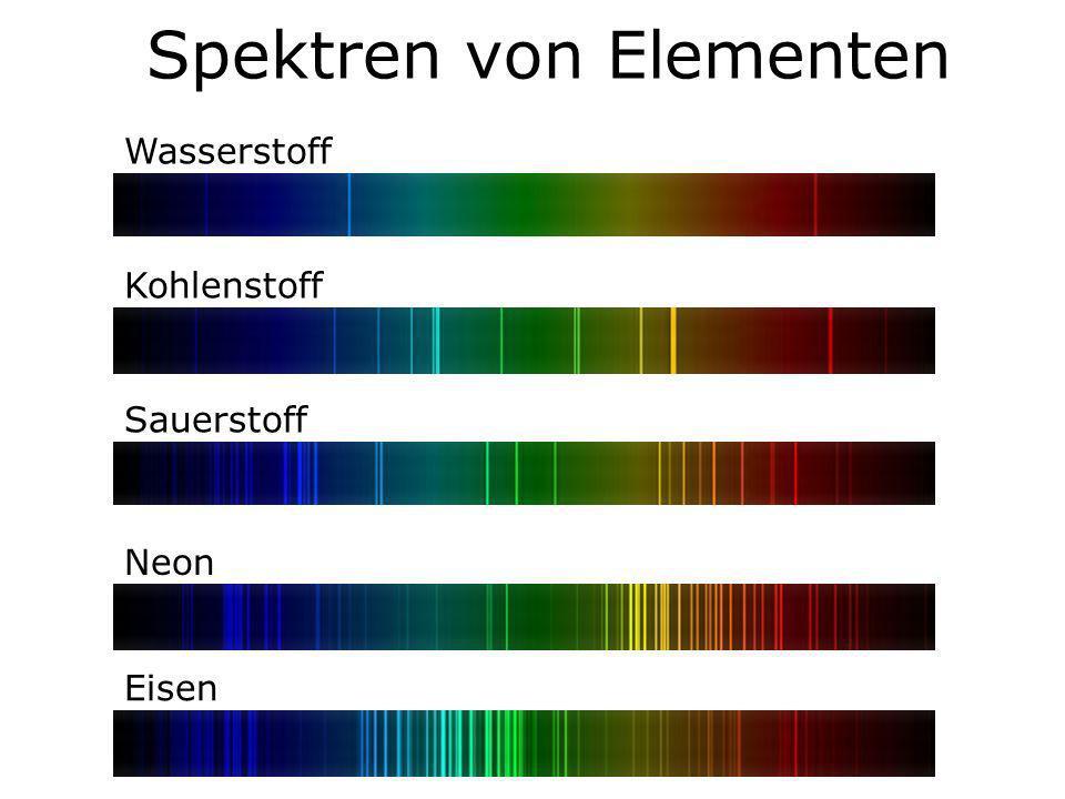 Spektren von Elementen Wasserstoff Kohlenstoff Sauerstoff Neon Eisen