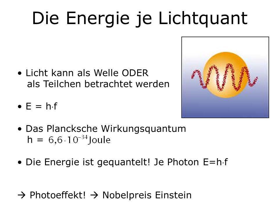 Die Energie je Lichtquant Licht kann als Welle ODER als Teilchen betrachtet werden E = hf Das Plancksche Wirkungsquantum h = Die Energie ist gequantel