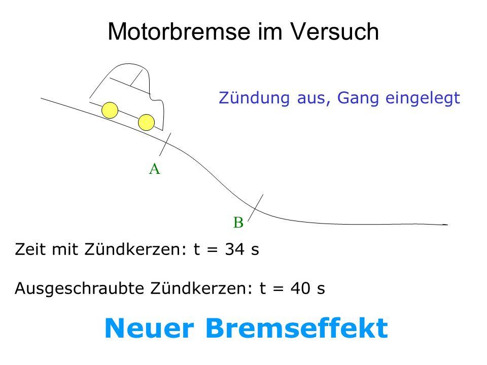Motorbremse im Versuch Zündung aus, Gang eingelegt Zeit mit Zündkerzen: t = 34 s Ausgeschraubte Zündkerzen: t = 40 s Neuer Bremseffekt A B
