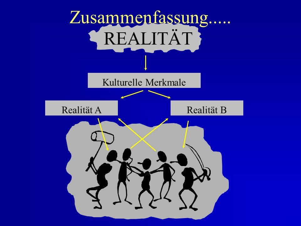 Realität und Kultur..... tatsächliche Realität potentielle Realität perzeptueller Apparat Tatsachen Kategorien Wahrheitsgehalt nach Kriterien Interpre