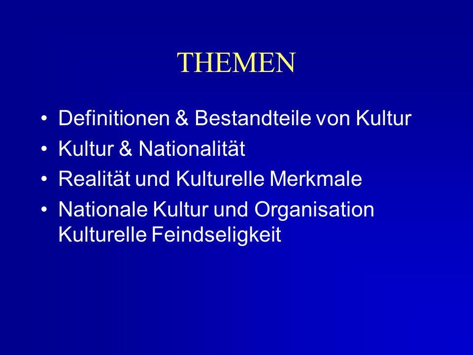 Definitionen & Bestandteile von Kultur Kultur & Nationalität Realität und Kulturelle Merkmale Nationale Kultur und Organisation Kulturelle Feindseligkeit THEMEN