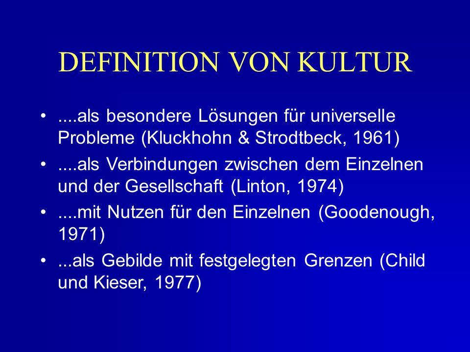 ....als besondere Lösungen für universelle Probleme (Kluckhohn & Strodtbeck, 1961)....als Verbindungen zwischen dem Einzelnen und der Gesellschaft (Linton, 1974)....mit Nutzen für den Einzelnen (Goodenough, 1971)...als Gebilde mit festgelegten Grenzen (Child und Kieser, 1977) DEFINITION VON KULTUR