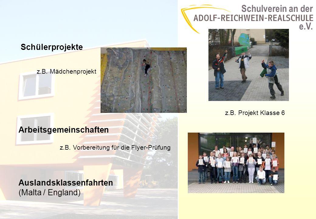 Schulverein an der e.V. Schülerprojekte z.B. Mädchenprojekt z.B.