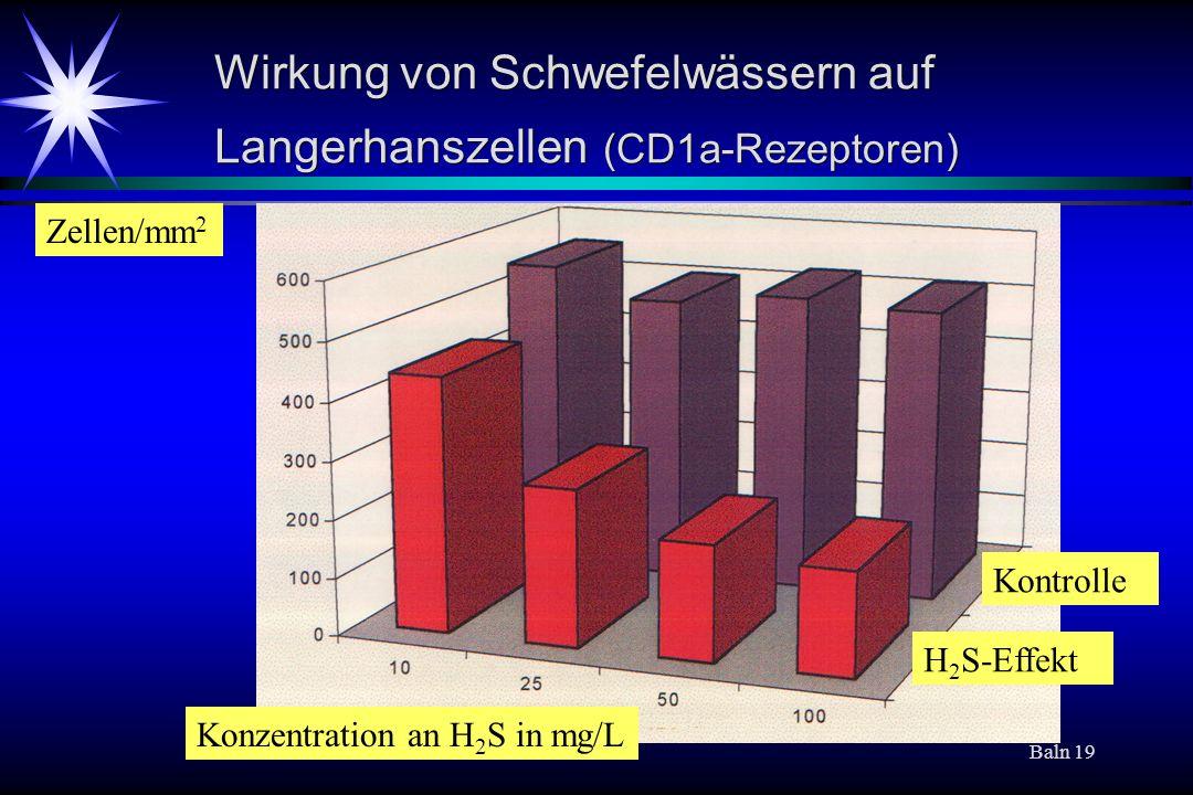 Baln 19 Wirkung von Schwefelwässern auf Langerhanszellen (CD1a-Rezeptoren) Kontrolle H 2 S-Effekt Konzentration an H 2 S in mg/L Zellen/mm 2