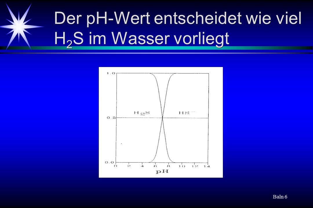 Baln 6 Der pH-Wert entscheidet wie viel H 2 S im Wasser vorliegt