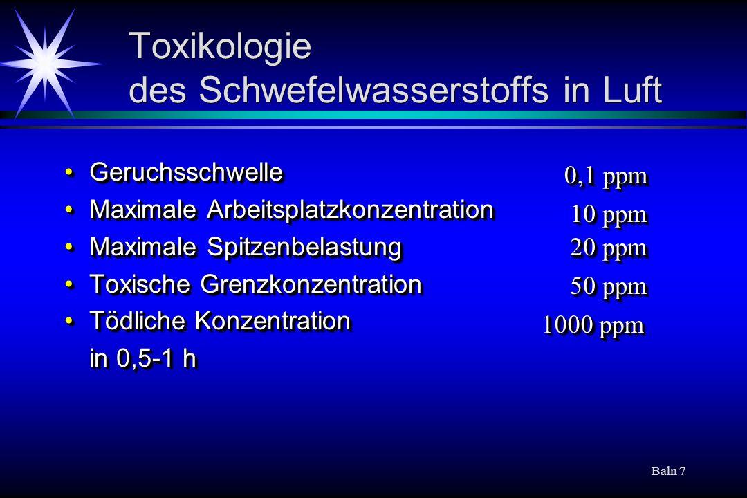 Baln 7 Toxikologie des Schwefelwasserstoffs in Luft GeruchsschwelleGeruchsschwelle Maximale ArbeitsplatzkonzentrationMaximale Arbeitsplatzkonzentratio