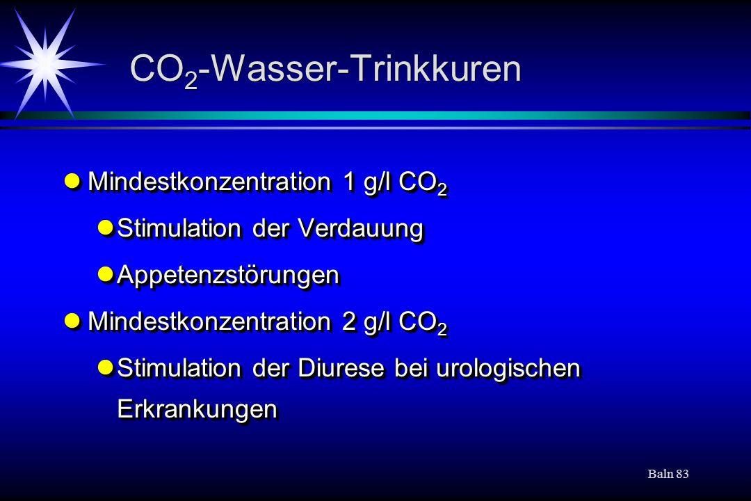 Baln 83 CO 2 -Wasser-Trinkkuren Mindestkonzentration 1 g/l CO 2 Mindestkonzentration 1 g/l CO 2 Stimulation der Verdauung Stimulation der Verdauung Ap