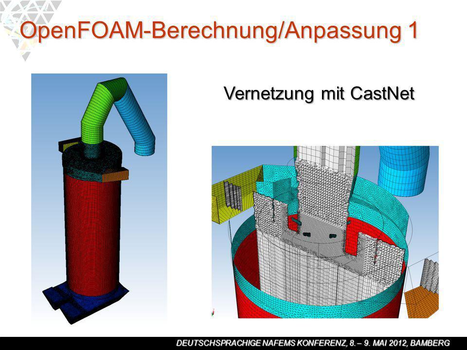 DEUTSCHSPRACHIGE NAFEMS KONFERENZ, 8. – 9. MAI 2012, BAMBERG OpenFOAM-Berechnung/Anpassung 1 Vernetzung mit CastNet