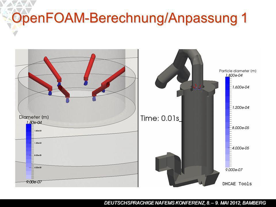 DEUTSCHSPRACHIGE NAFEMS KONFERENZ, 8. – 9. MAI 2012, BAMBERG OpenFOAM-Berechnung/Anpassung 1