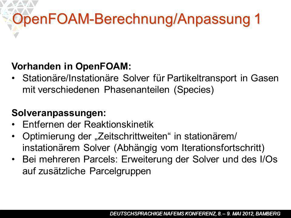 DEUTSCHSPRACHIGE NAFEMS KONFERENZ, 8. – 9. MAI 2012, BAMBERG Vorhanden in OpenFOAM: Stationäre/Instationäre Solver für Partikeltransport in Gasen mit
