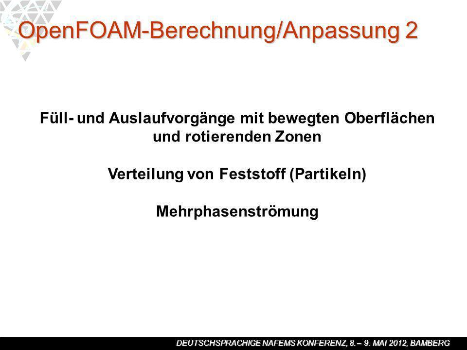 DEUTSCHSPRACHIGE NAFEMS KONFERENZ, 8. – 9. MAI 2012, BAMBERG Füll- und Auslaufvorgänge mit bewegten Oberflächen und rotierenden Zonen Verteilung von F