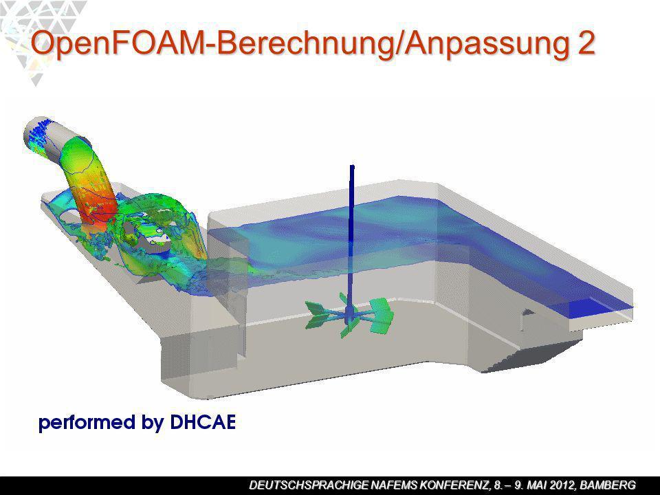 DEUTSCHSPRACHIGE NAFEMS KONFERENZ, 8. – 9. MAI 2012, BAMBERG OpenFOAM-Berechnung/Anpassung 2