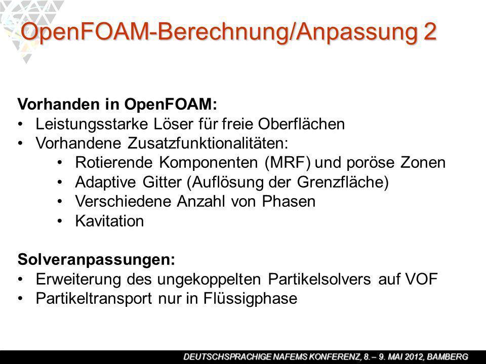 DEUTSCHSPRACHIGE NAFEMS KONFERENZ, 8. – 9. MAI 2012, BAMBERG Vorhanden in OpenFOAM: Leistungsstarke Löser für freie Oberflächen Vorhandene Zusatzfunkt