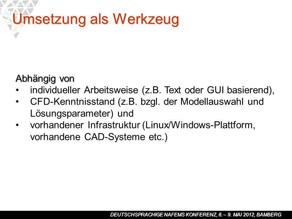 DEUTSCHSPRACHIGE NAFEMS KONFERENZ, 8. – 9. MAI 2012, BAMBERG Abhängig von individueller Arbeitsweise (z.B. Text oder GUI basierend), CFD-Kenntnisstand