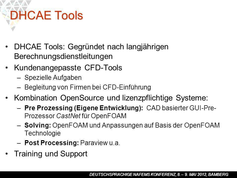 DEUTSCHSPRACHIGE NAFEMS KONFERENZ, 8. – 9. MAI 2012, BAMBERG DHCAE Tools DHCAE Tools: Gegründet nach langjährigen Berechnungsdienstleitungen Kundenang