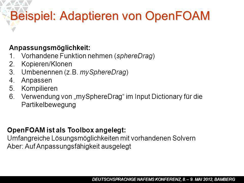 DEUTSCHSPRACHIGE NAFEMS KONFERENZ, 8. – 9. MAI 2012, BAMBERG Beispiel: Adaptieren von OpenFOAM Anpassungsmöglichkeit: 1. 1.Vorhandene Funktion nehmen