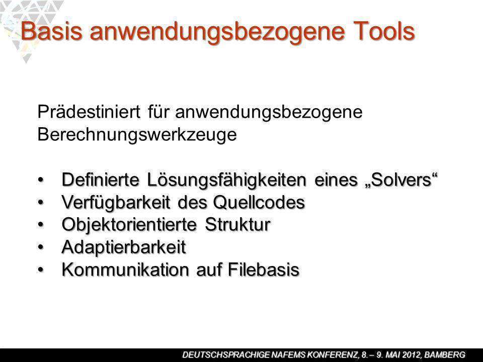 DEUTSCHSPRACHIGE NAFEMS KONFERENZ, 8. – 9. MAI 2012, BAMBERG Basis anwendungsbezogene Tools Prädestiniert für anwendungsbezogene Berechnungswerkzeuge