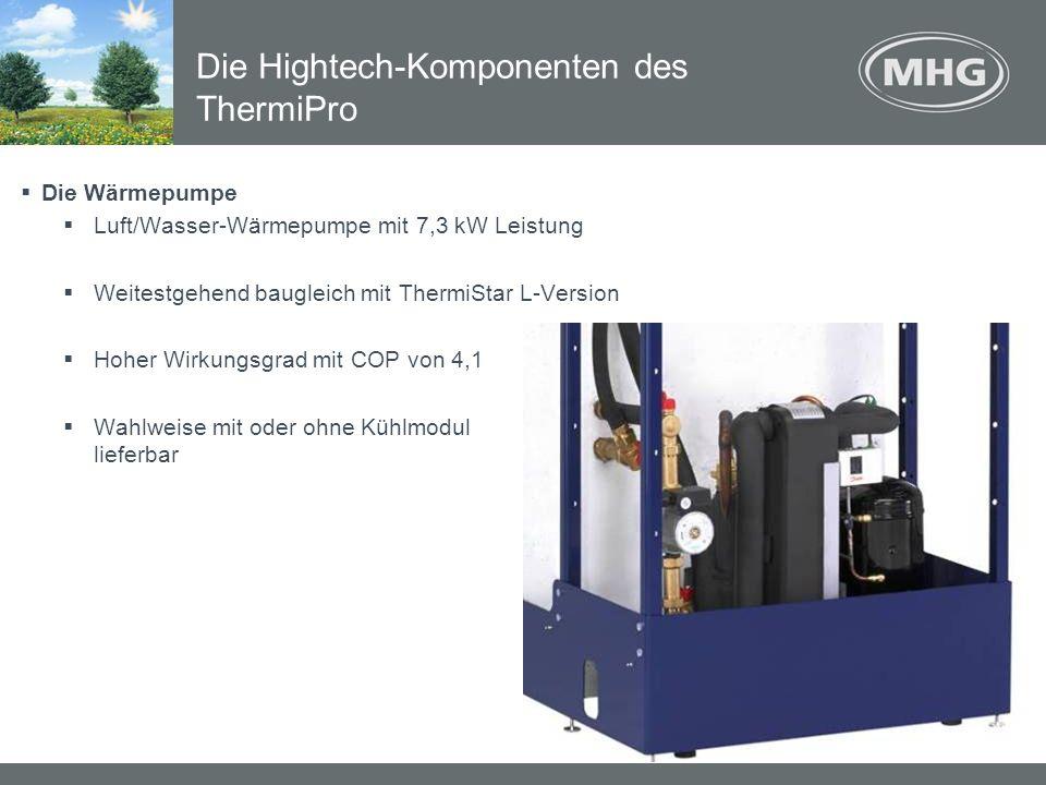 Die Wärmepumpe Luft/Wasser-Wärmepumpe mit 7,3 kW Leistung Weitestgehend baugleich mit ThermiStar L-Version Hoher Wirkungsgrad mit COP von 4,1 Wahlweis