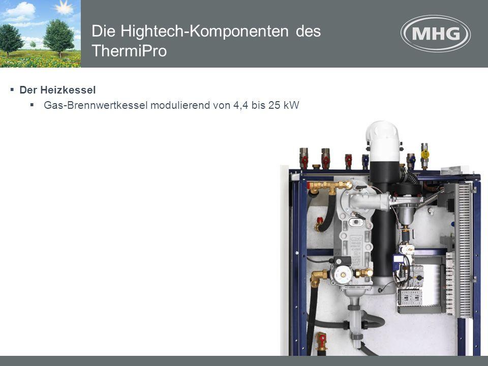 Der Heizkessel Gas-Brennwertkessel modulierend von 4,4 bis 25 kW Die Hightech-Komponenten des ThermiPro
