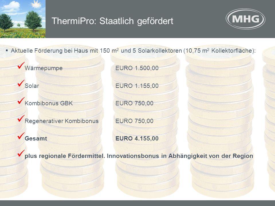 Aktuelle Förderung bei Haus mit 150 m 2 und 5 Solarkollektoren (10,75 m 2 Kollektorfläche): WärmepumpeEURO 1.500,00 SolarEURO 1.155,00 Kombibonus GBKE